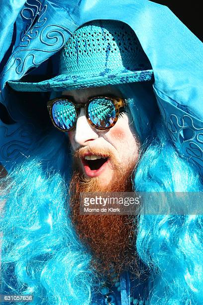 Strikers supporter looks on during the Big Bash League match between the Adelaide Strikers and the Hobart Hurricanes at Adelaide Oval on January 6...