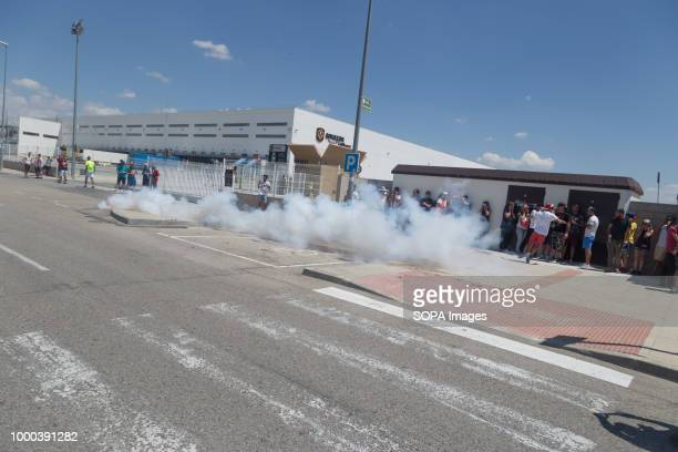 Strikers throw firecrackers during the strike The works council called a threeday strike after a meeting without any agreement in which the company...