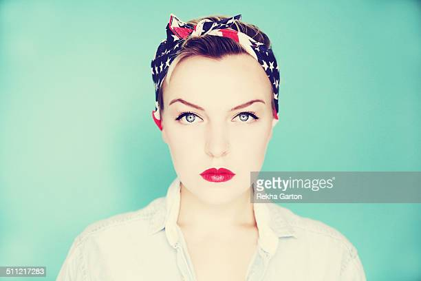Striking beauty portrait of a pin up girl