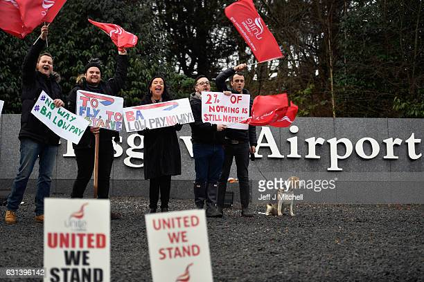 Striking British Airway cabin crew staff demonstrate outside Glasgow Airport on January 10 2017 in Glasgow Scotland The two day strike by some of...