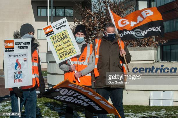 Striking British Gas engineers picket the offices of CENTRICA, the parent company of British Gas, on January 25, 2021 in Windsor, England. British...
