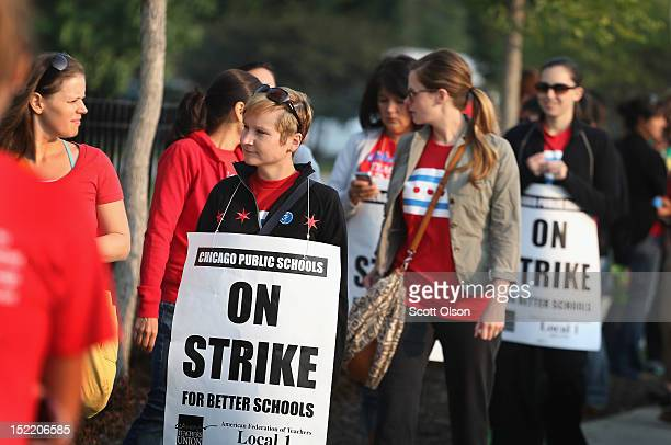 Striking Chicago public school teachers picket outside of George Westinghouse College Prep high school on September 17 2012 in Chicago Illinois More...