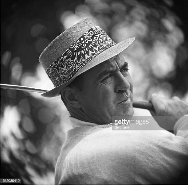 A striking closeup of the face of Sam Snead of White Sulpher Springs West Virginia a study in concentration as he stands with club on shoulder after...