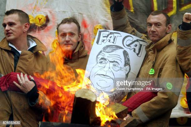Striking firefighters on the picket line at a Tyneside Fire station hold up an effigy of Deputy Prime Minister John Prescott on the the third day of...