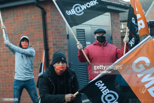 Striking gas engineers attend a socially distanced photo call on the first day of their industrial action on January 7, 2021 in London, England....