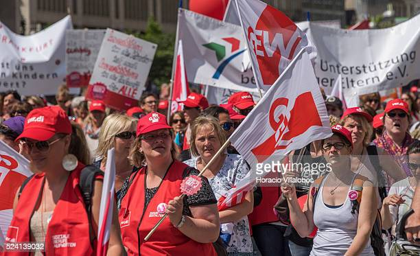 Striking Kindergarten teachers demonstrate in Frankfurt Germany 13 May 2015 after negotiations over a pay increase failed Strikes will go on for an...