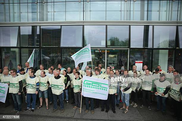 Striking members of the GDL train drivers' union gather outside Ostbahnhof train station on the first full day of their weeklong strike against...