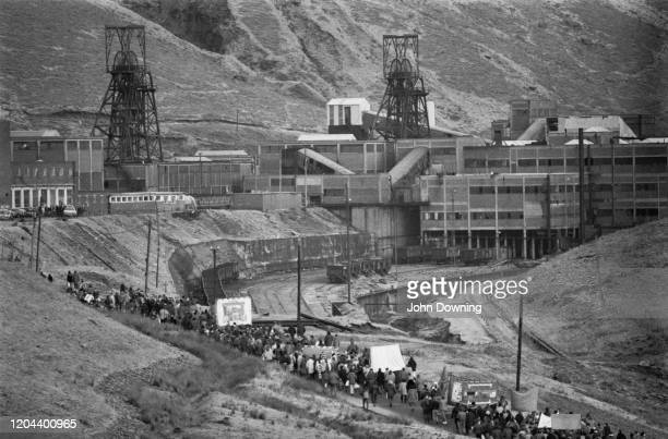 Striking mine workers during the miners' strike picket the Maerdy Colliery one of the last working mines in the south Wales valleys in Maerdy Rhondda...