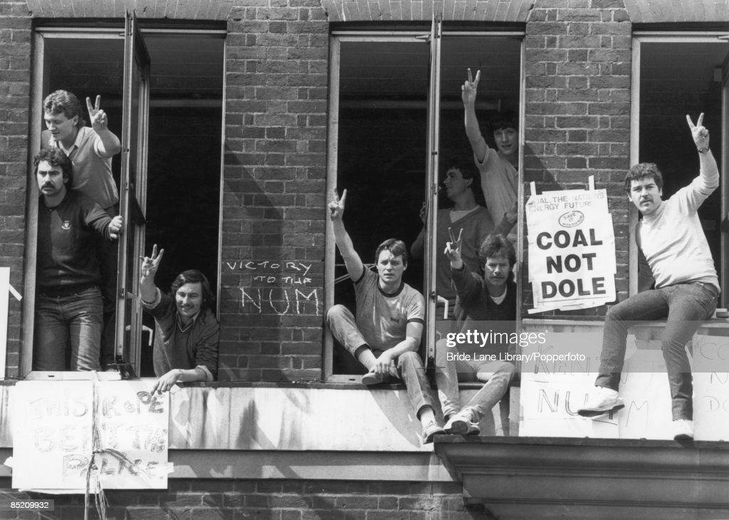 Striking miners occupy the NCB (National Coal Board) headquarters in London, in protest against the arrest of union leader Arthur Scargill at Orgreave, 30th May 1984. They later left the premises peacefully.