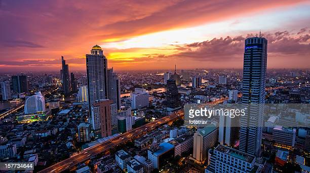Striking Orange hued sunset over Bangkok