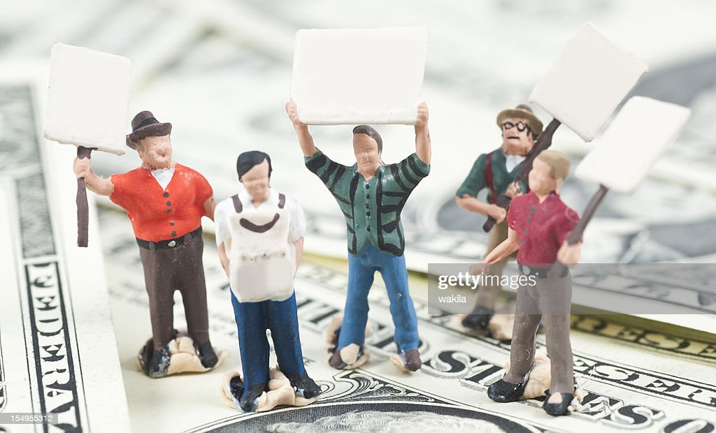striking people on dollar money with copyspace : Stock Photo