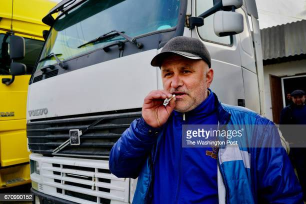 Striking trucker Magomed Ibragimov on of hundreds of truckers on a work stoppage in this small town in Dagestan an impoverished region in Russia's...