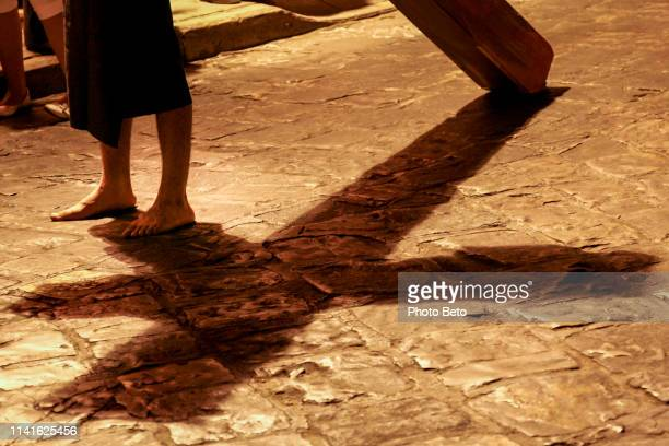 a striking via crucis during the easter celebrations in oaxaca in southern mexico - holy week stock pictures, royalty-free photos & images