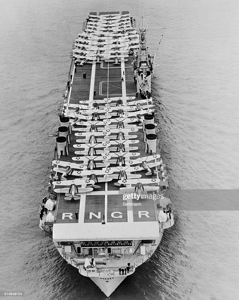 A striking view of the USS Ranger aircraft carrier of the