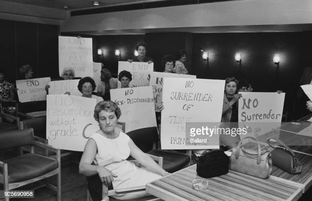 Striking women machinists from the Ford plant at Dagenham protest to hear outcome of union negotiations at New Ambassador Hotel UK 18th June 1968