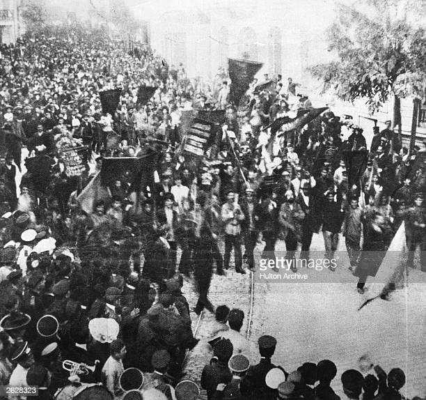 Striking workers demonstrate in the harbour town of Odessa during the Revolution of 1905.