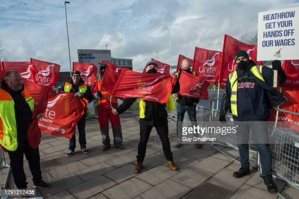Striking workers on the picket line at Hatton Cross near Heathrow Airport on December 14, 2020 in London, England.