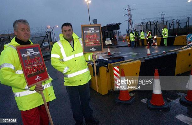 Striking workers picket the main gate at Sellafield Nuclear Power Station in a dispute over pay the first there for thirty years in Cumbria Britain...