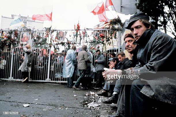 Striking workers sit at the Lenin Shipyard in Gdansk, on August 20, 1980. The strike in the Gdansk shipyard lasted from 13 August to 31 August and...