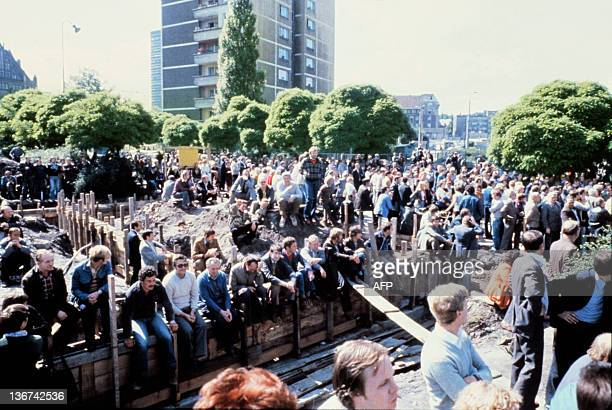 Striking workers wait at the Lenin Shipyard in Gdansk on August 25 1980 The strike in the Gdansk' shipyard lasted from 13 August to 31 August and...