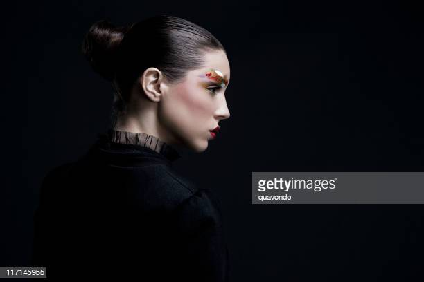 beauty shot, updo and makeup on young woman, copy space - high fashion stock pictures, royalty-free photos & images
