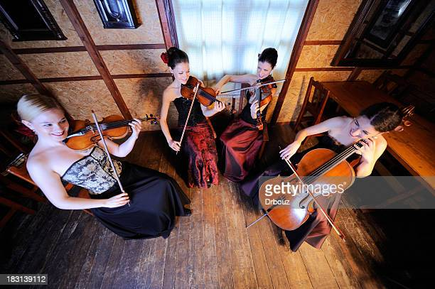 string female quartet - musical quartet stock photos and pictures