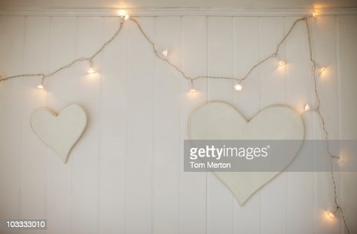 String Lights And Hearts Hanging On Wall High-Res Stock ...