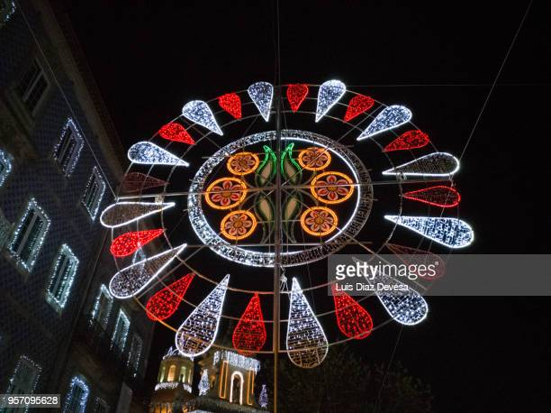 String lights during night ofthe Feast Of Crosses (Barcelos - Portugal)
