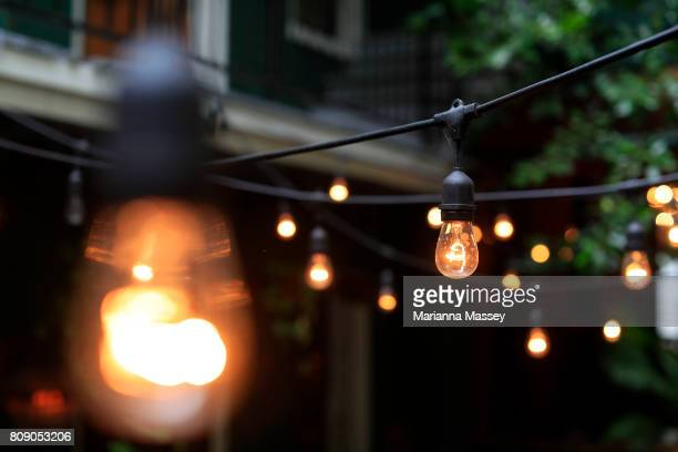 String lights on a patio