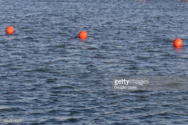 String of Orange Bouys in the water