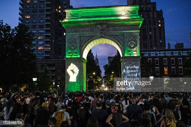 String players perform during a violin vigil for Elijah McClain in Washington Square Park on June 29 2020 in New York City McClain was a 23yearold...