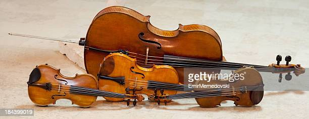 string quartet instruments - violin family stock photos and pictures