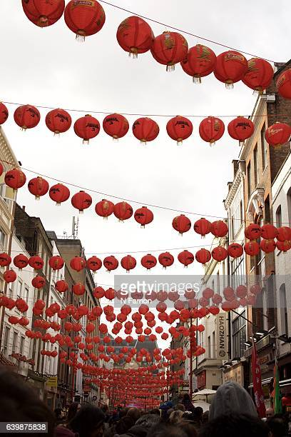 Strings of Chinese lanterns in London
