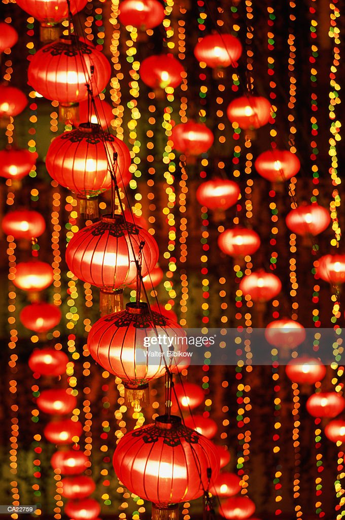 Strings Of Illuminated Red Paper Lanterns Night Stock Photo