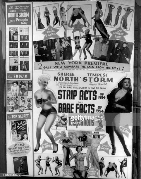 Strip Acts poster BARE FACTS TEMPTATIONS from left Sheree North Lili St Cyr Tempest Storm poster for triple bill of burlesque films 1954