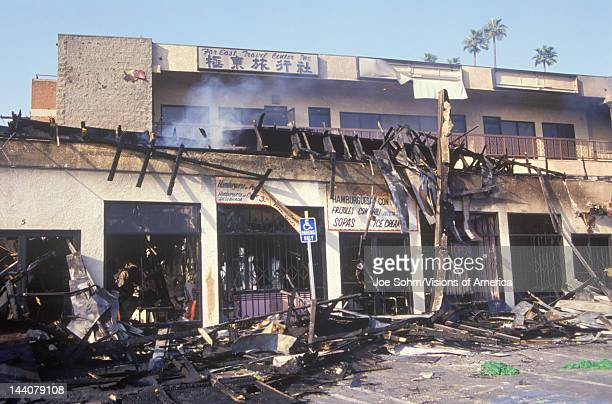 Strip mall burned out during 1992 riots South Central Los Angeles California