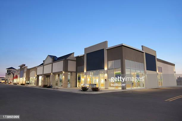 Strip Mall Store Building Exteriors at Sunset