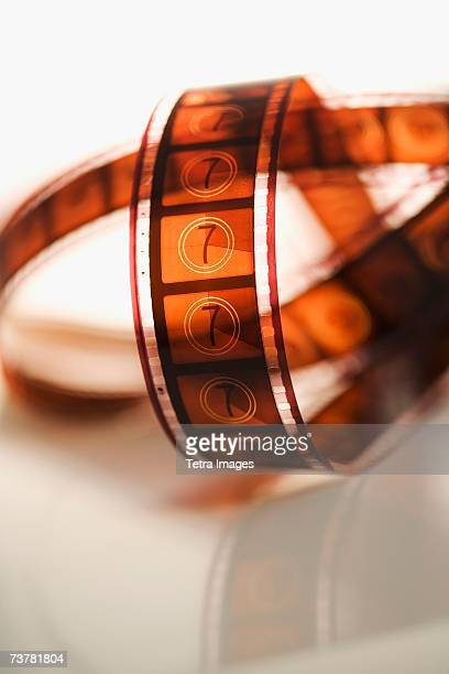 Strip of film on table indoors