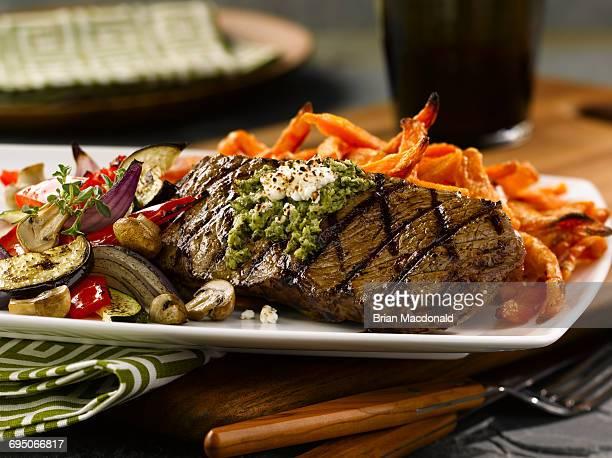 Strip Steak and Grilled Vegetables