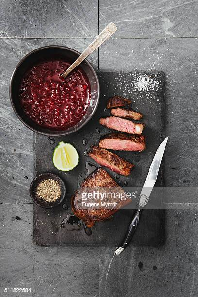 Strip steak with cowberry sauce
