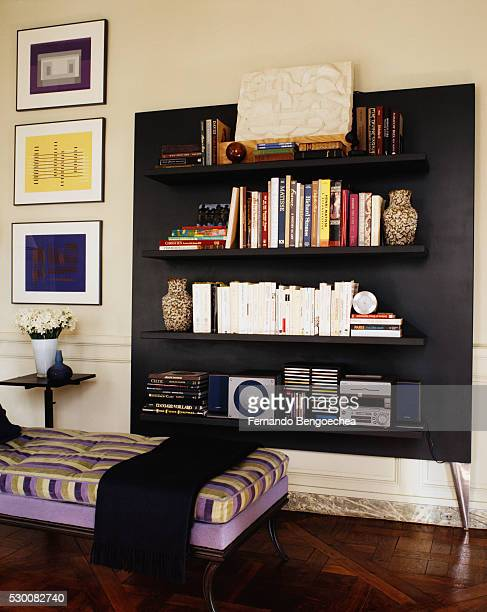 Striped Chaise Longue in Front of Bookshelves