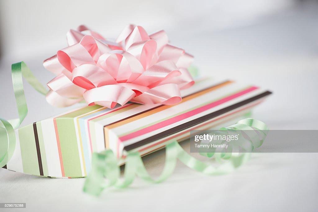 Striped Gift Box : Stock Photo
