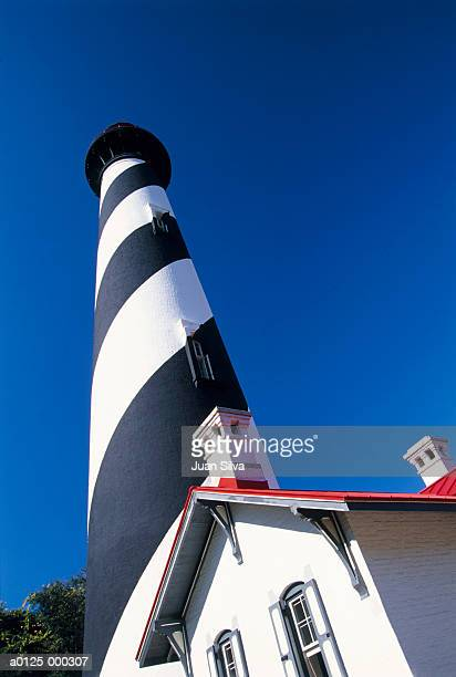 striped lighthouse - st augustine lighthouse stock photos and pictures