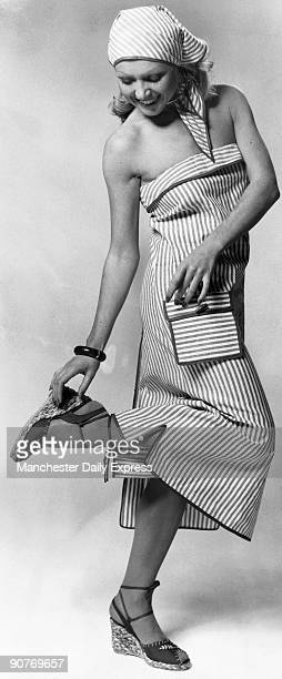 Striped tube dress in crisp cotton with triangle scarf £2950 at Elle London