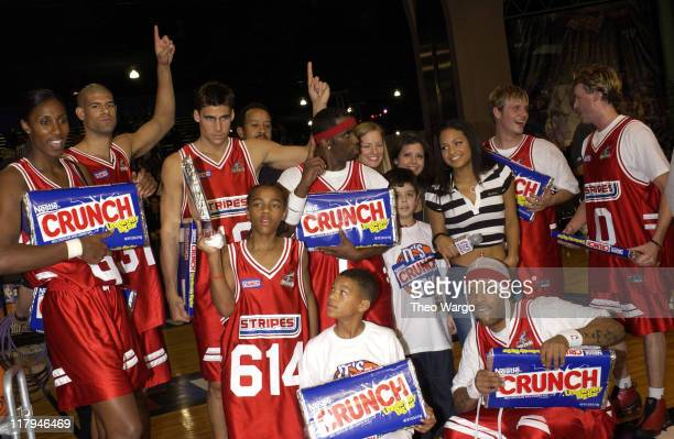 Stripes team poses after winning the game Lisa Leslie Shane Battier Wally Szczerbiak Lil' Bow Wow Sean 'P Diddy' Combs Redman Nick Carter and Brian...