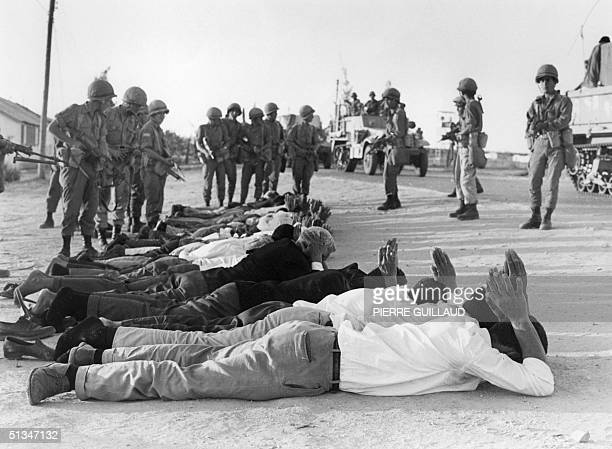 Palestinians surrender to Israeli soldiers in June 1967 in the occupied territory of the West Bank On 05 June 1967 Israel launched preemptive attacks...