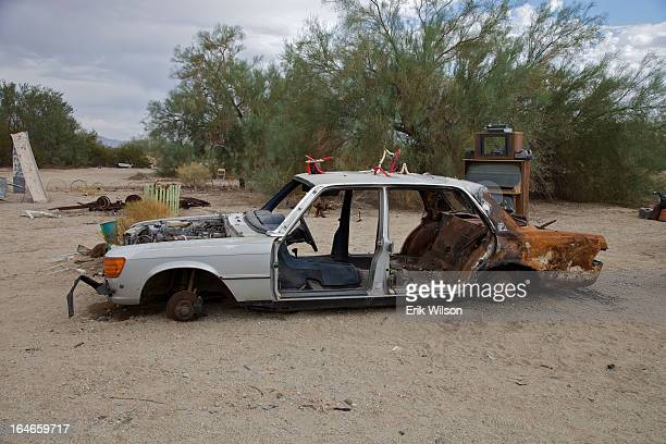 CONTENT] A stripped and abandoned car makes an artistic statement in a sculpture garden in Slab City near Niland just south of the Salton Sea