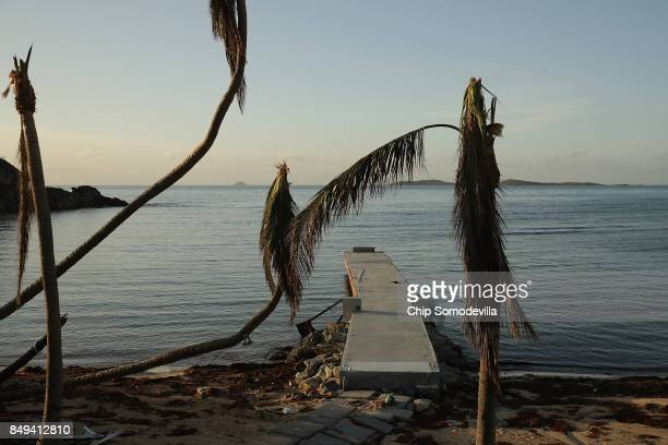 Stripped concrete pier and broken trees on the beach at the Bolongo Bay Beach Resort more than a week after Hurricane Irma made landfall, on...