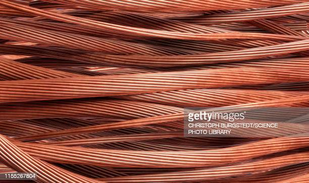 stripped copper cables, illustration - wire stock pictures, royalty-free photos & images