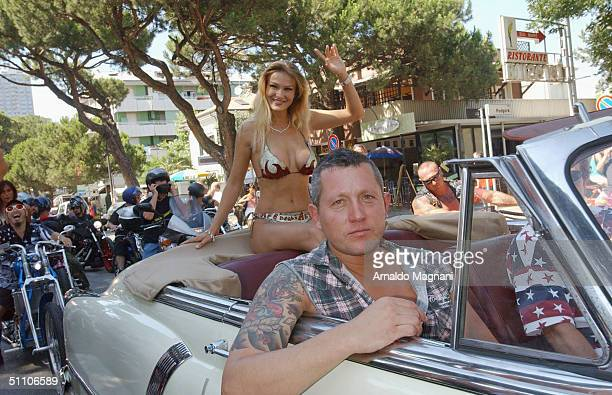 Stripper Eva Henger appears at the 10th Bikers Bikini Benefit at Cafe degli Artisti July 18 2004 in Cesenatico Italy